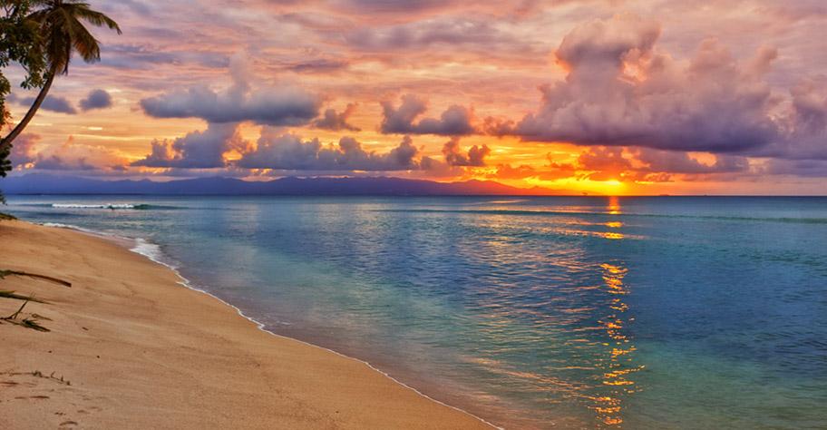 Guadeloupe Badeferien Traumstrände Sonnenuntergang