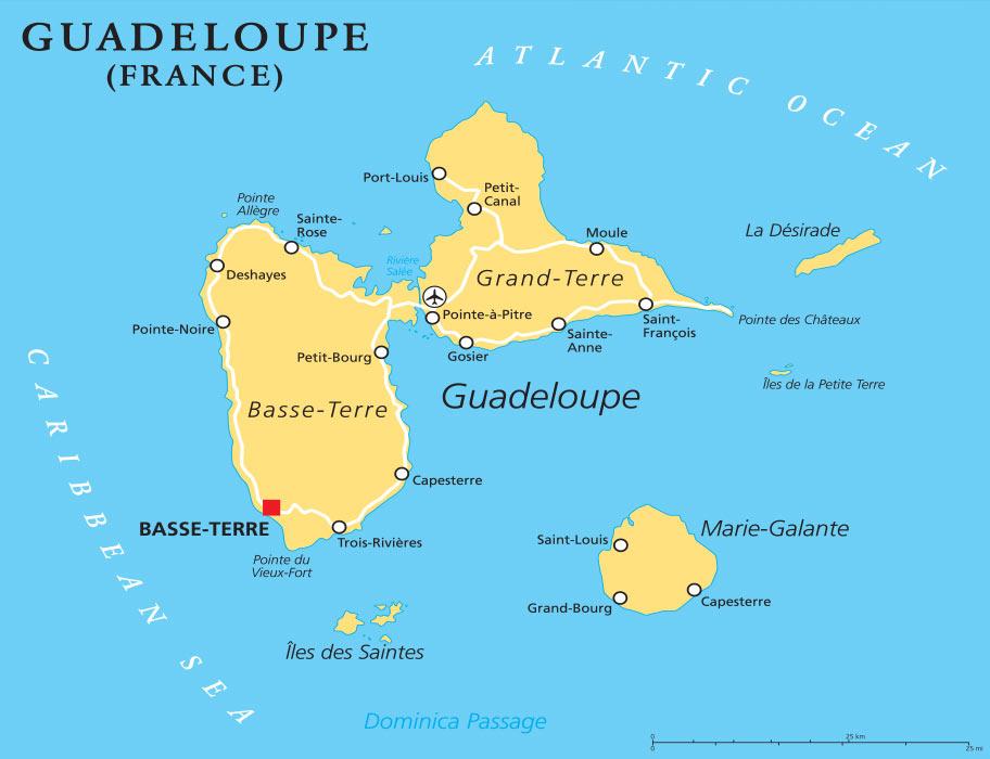 Guadeloupe Reisetipps - Länderkarte - Kartenübesicht Guadeloupe