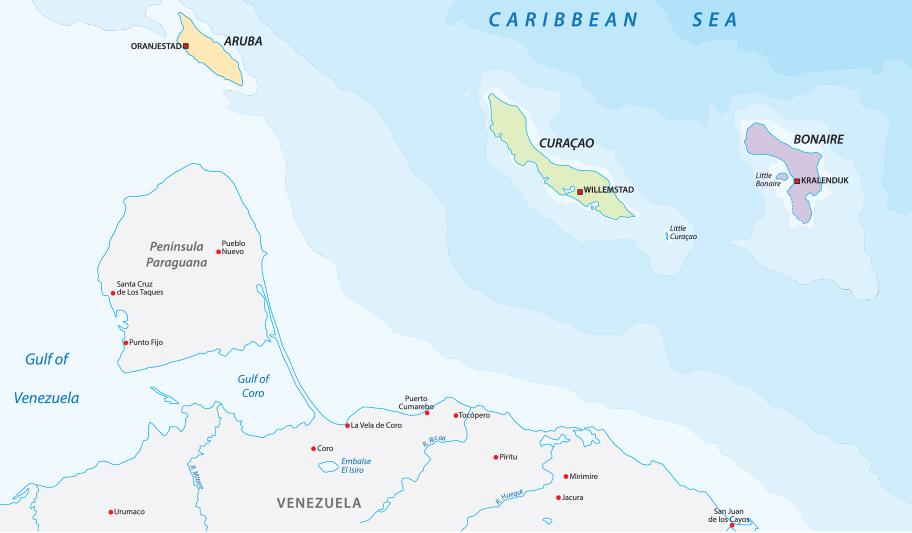 Karte ABC Inseln, touristische Landkarte