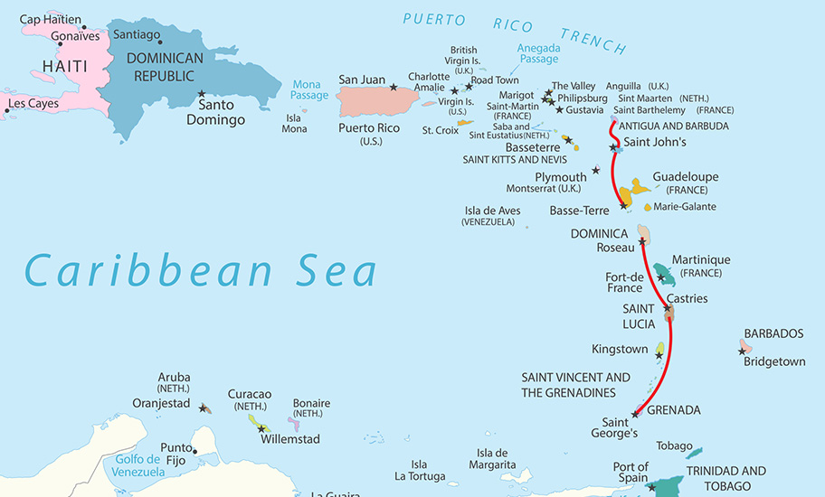 The Island Of St Lucia Map