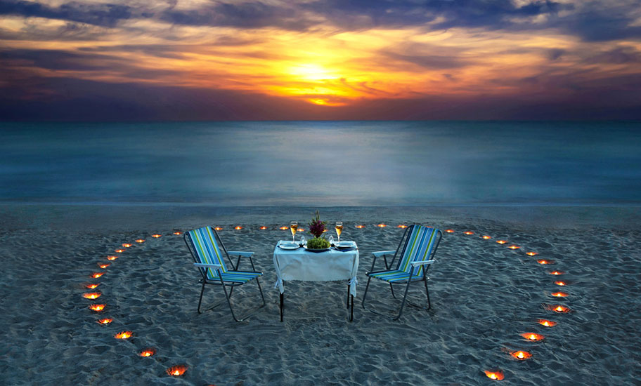 St. Lucia Hochzeitsreise Strand Candle Light Dinner